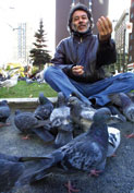 Man with birds.