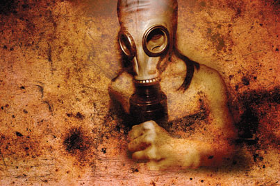 Illustration of man with gas mask
