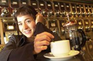 Laure Waridel in 2001, enjoying a cup of he beverage that has since made her a celebrity