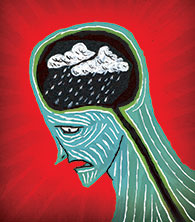 Illustration of a brain experiencing bad weather